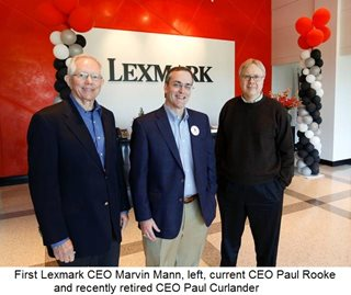 First Lexmark CEO Marvin Mann, left, current CEO Paul Rooke and recently retired CEO Paul Curlander